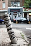 Love this, bent traffic post becomes art.