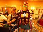 Amy Wilder, steampunk, next to Iron Man