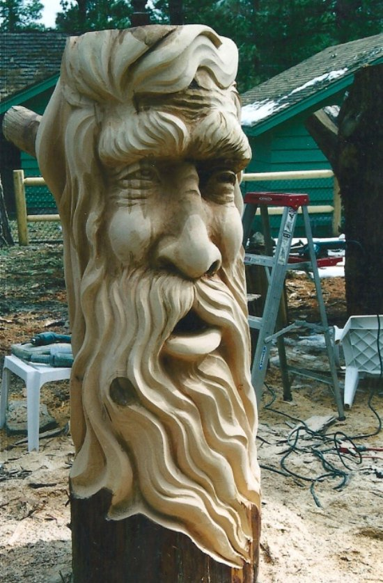 Wood carving art michael bradley time traveler