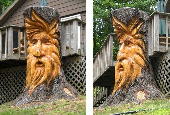 Wood carving art michael bradley time traveler