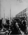 Boston's fisherman's wharf jammed with merchants and dock workers, ca. 1890. (Courtesy of the National Archives)