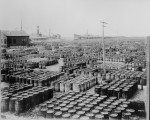 Hundreds of wooden barrels covering the docks at the resin yards, Savannah, Ga., 1903. (Courtesy of the National Archives)