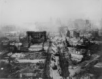 The ruins of San Francisco, still smoldering after the 1906 earthquake, taken from the tower of the Union Ferry Building. Market Street between Sacramento and Third Streets. (Courtesy of the National Archives)
