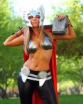 Toni Darling, super sweet person, made this Lady Thor famous.  Ok for Tribune, too racy for my site?