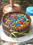 I've actually seen this cake, Kit Kat fence, chocolate with M&M toppings - yum!