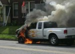 Taking flames on the front of his pick-up to the extreme