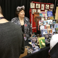 Patti Hultstrand, my publisher, selling my books...